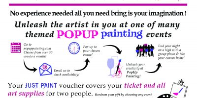 gift voucher for two people popup painting