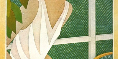 1927 Vogue Cover featuring tennis player, by Helen Dryden, Georges Lepap, Harriett Maserol, George Plank and Eduardo Benito