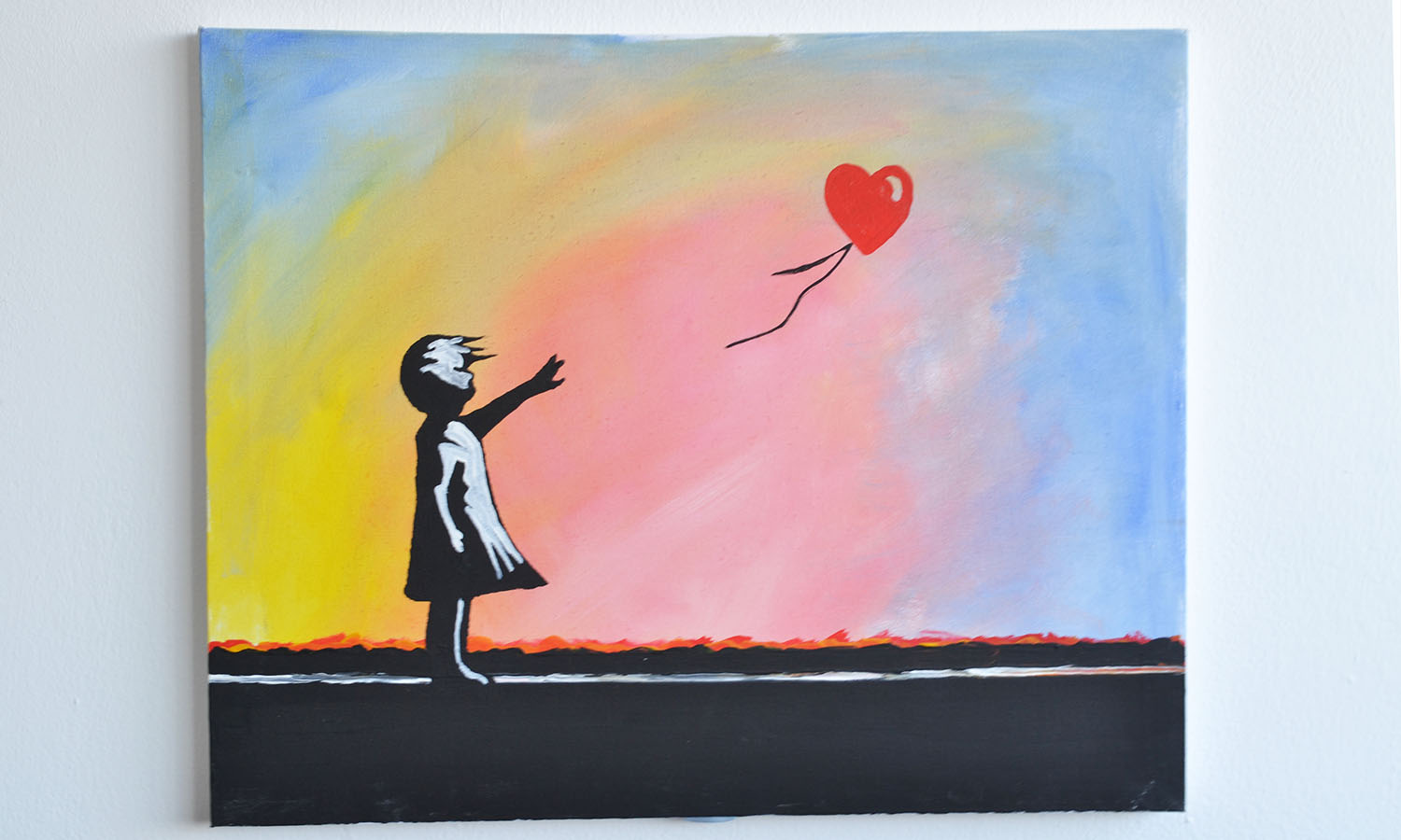 Banksy 39 s girl with a balloon popup painting for Www painting com
