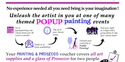 painting and prosecco for two popup painting gift voucher