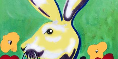 Easter bunny rabbit pop art painting