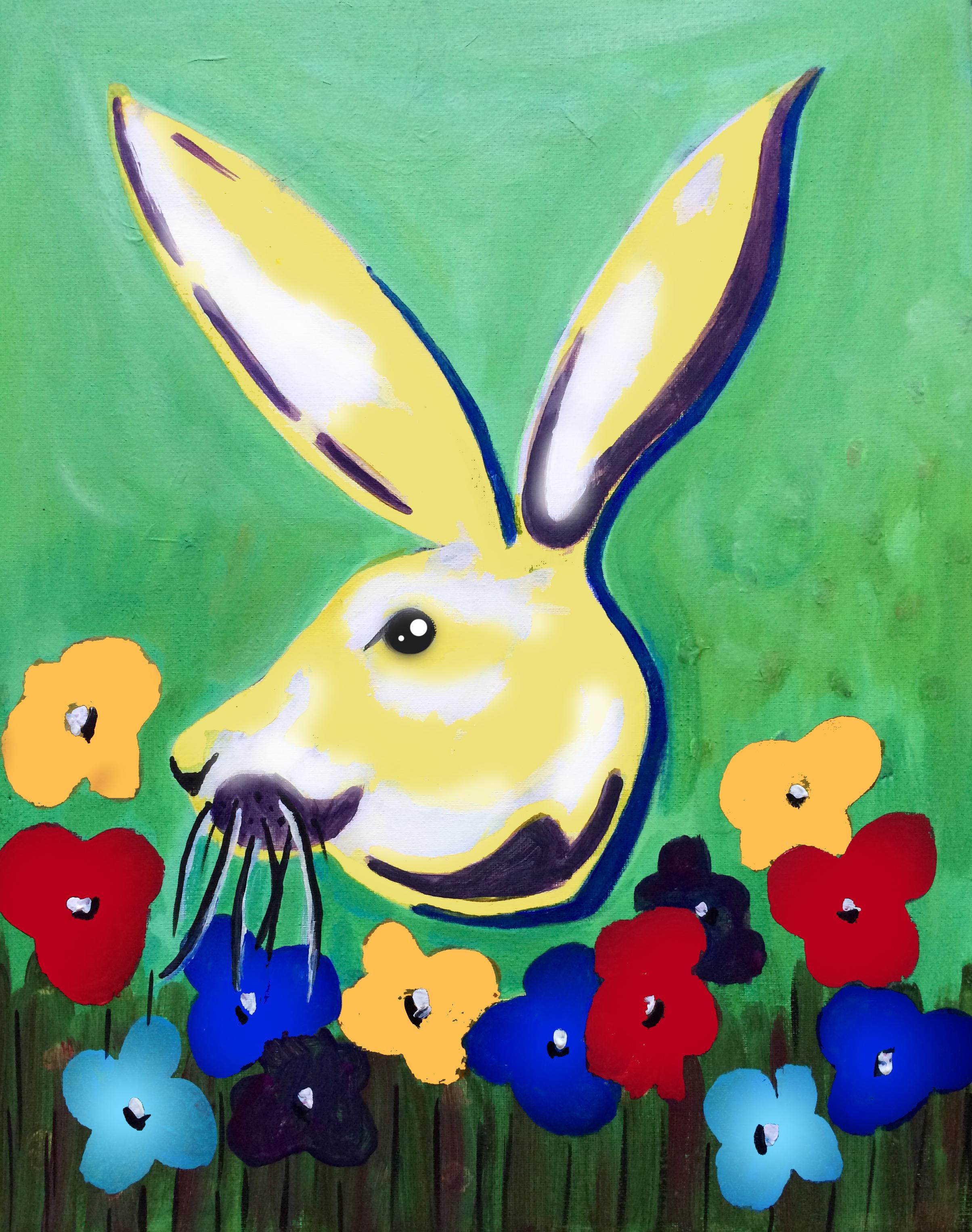 Easter bunny rabbit pop art painting